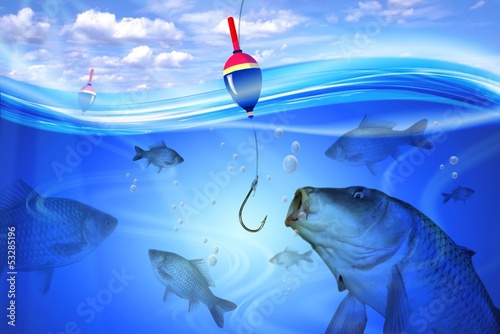 Fishing in deep blue water lake