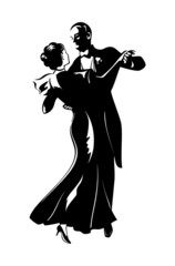 Classic dancing pair silhouette isolated