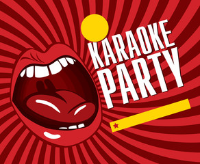 red banner with mouth singing karaoke