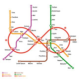 Fictional metro map in shape of infinity. Vector illustration.