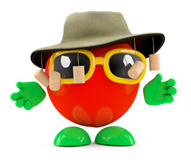Tomato keeps the sun off with a hat