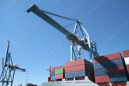 Container ship working with special crane