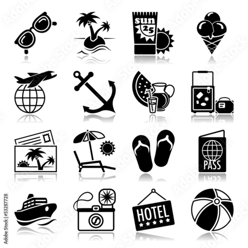 Summer vacations icons with reflection