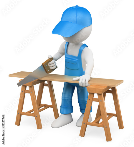3D white people. Carpenter cutting wood with a handsaw