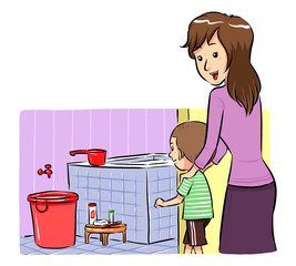 Mother accompanying her son to take a bath. Vector EPS8 file.