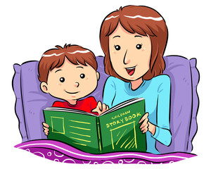 Mother reading bed time story for her son. Vector EPS8 file.