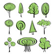 abstract trees  sketch collection  cartoon vector  illustration