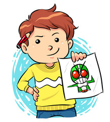 Image of a boy showing off his artwork. Vector EPS8 file.