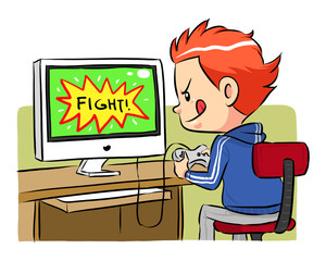 A boy playing computer games. Vector EPS8 file.