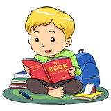 A boy sitting and reading a book. Vector EPS8 file.