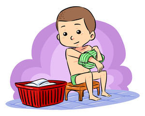 A boy put off his clothes prepare to take a bath.