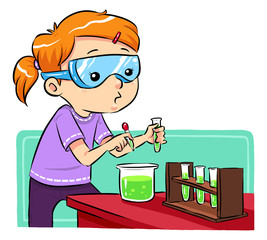 A girl doing some science experiments. Vector EPS8 file