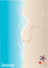 Sand beach with footprints and starfish. Vector illustration