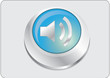Volume icon blue button, vector