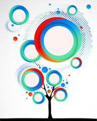 Abstract funny tree with round shapes. Vector