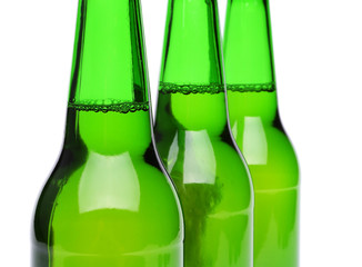 Three bottles of beer close-up