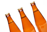 Three cool beer bottle, iIsolated on white.