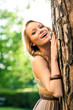 Beautiful girl outdoors backlight portrait.