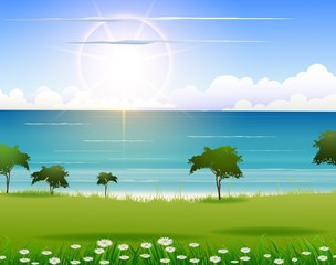 beauty beach background with sunlight