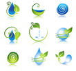 Beautiful water and leaf symbol combinations