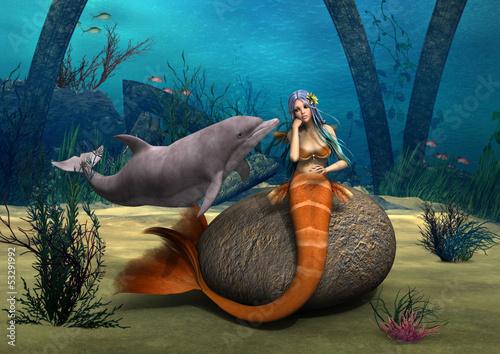 Foto op Plexiglas Draken Sad Mermaid