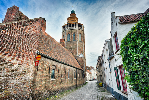 Papiers peints Bruges Jerusalem church and paved street