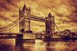 Tower Bridge in London, the UK. Vintage style