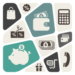 Abstract background with shopping theme icons