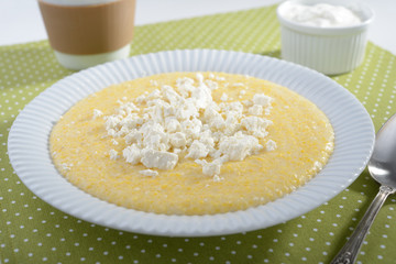 Polenta with feta cheese