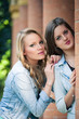 Two beautiful girls outdoors portrait.