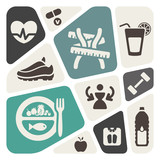 Diet and fitness background with icons