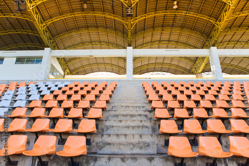 Empty seats with walk way on stadium