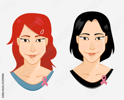 2 Women wearing pink ribbon to help promote breast