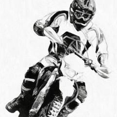 motocross B&W - oil paint