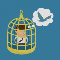 Business man in golden bird cage , eps10 vector format