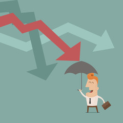 businessman holding umbrella protect graph down