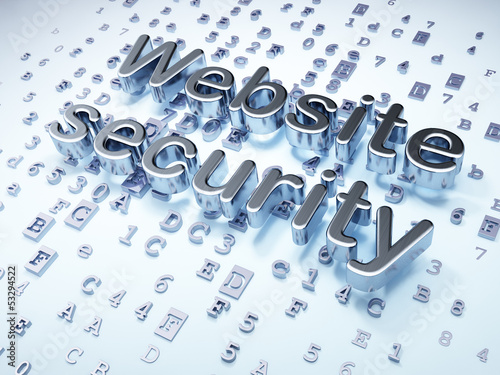 SEO web design concept: Silver Website Security on digital backg