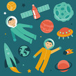 Vector set with space and planets icons