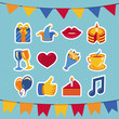 Vector birthday and party icons and signs