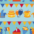 Vector seamless pattern with party icons and signs
