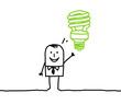 man & green bulb