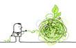 man untangling a green knot