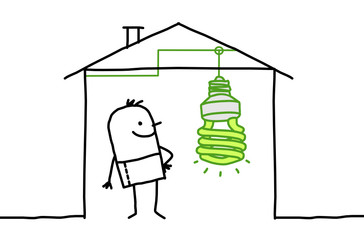 house & green light bulb