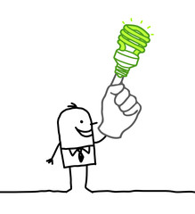 man & green light bulb