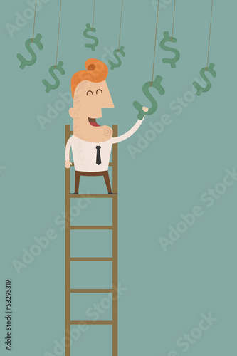 business man catching a money   , eps10 vector format