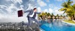 canvas print picture - Businessman jumping on the water.