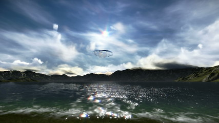 Translucent flying saucer passing over the sky
