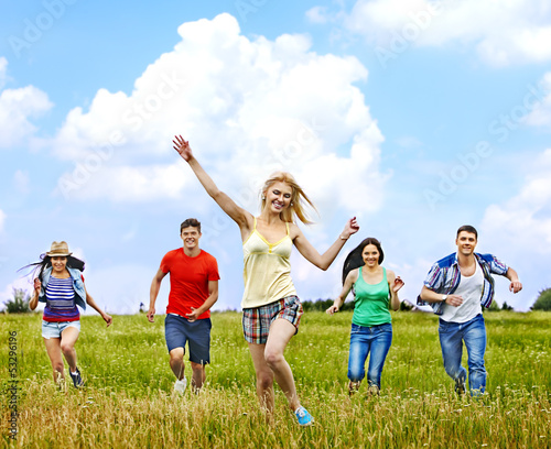 Group people summer outdoor.