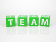 Team out of green Letter Dices