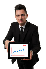 Businessman showing a profit chart on a tablet
